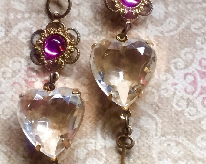 Jewelry Earrings Authentic Vintage Swarovski Heart Crystal Old Hollywood Glam