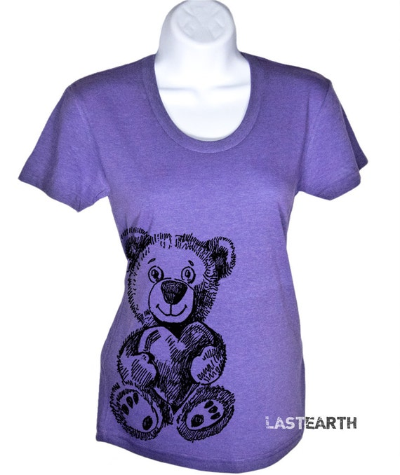 Women's T Shirt Bear and Heart Tshirt - American Apparel T-shirt - S M L XL (15 Color Options)