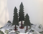 Trees, Set of 3 Metal Trees, Large Shelf Trees, Winter decoration, Holiday decor, Pine tree, Christmas decoration, Metal Art, green tree