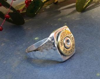Mens Sterling Bullet Ring - Hammered - Your Choice of Caliber - LLJ176