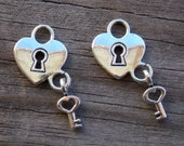 Silver Lock and Key Charms, Heart Lock, Tiny Key, Antiqued Silver, 26mm, 16pcs