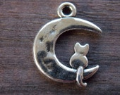 8 Silver Cat and Moon Charms 23mm