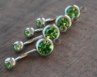 12 Light Green Crystal Belly Button Rings with Loop to Add Charm  14 Gauge  304 Surgical Steel