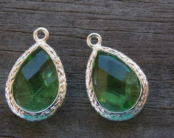 2 Green Glass Crystal Charms 18mm Silver PLated Brass August Birthstone