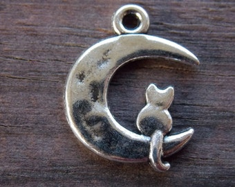 16 Silver Cat and Moon Charms 23mm