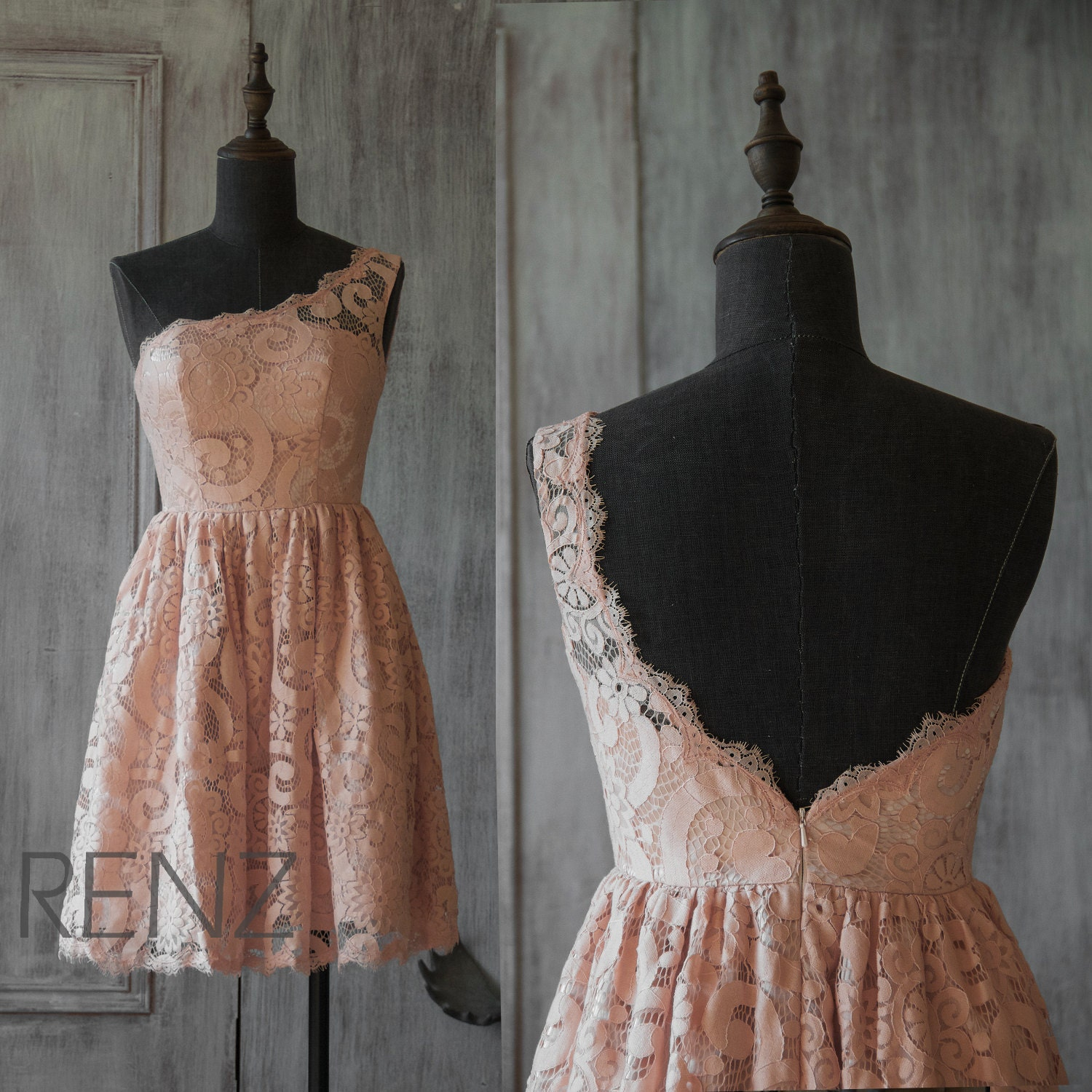 2016 Peach Lace Bridesmaid Dress One Shoulder Wedding By
