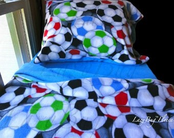 Soccer Bedding Fleece Bed Set for Girls and Boys Handmade Fits Crib and Toddler Beds