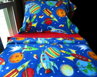 Space Rockets Bedding Toddler Fleece Bed Set for Boys. Fits Crib & Toddler Beds