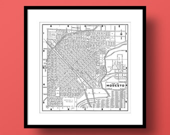 Modesto California Map, Fine Art Print, Premium Canvas Gallery Wrap