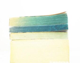 Blue White Print - An afternoon in Reykjavik - Vintage books photo, seafoam, cream, ivory, mint, modern giclée, minimalist, light, 8x8, 8x10