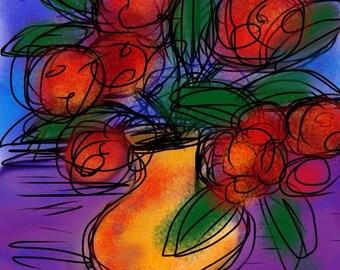 Red Poppies Yellow Vase 8x10 print