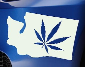 Washington State Weed Leaf Sticker Decal