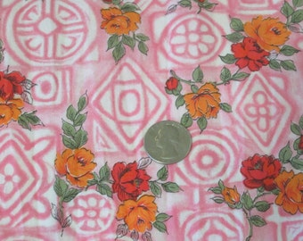 Vintage 1950s Cotton Novelty Print Fabric 2.5 yards Mid-Century Pink Geometric with Roses