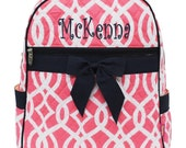 Personalized Girls Geometric Vine Pattern Quilted Backpack - Coral & White Print with Navy Trim Booksack Monogrammed FREE