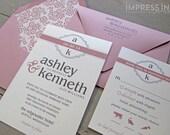 Modern Monogram Wedding Invitation Sample | Flat or Pocket Fold Style