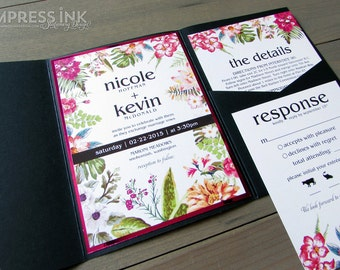 Bold Botanicals Floral Wedding Invitation Sample | Flat or Pocket Fold Style