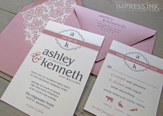 Modern Monogram Wedding Invitation Sample | Flat or Pocket Fold Style