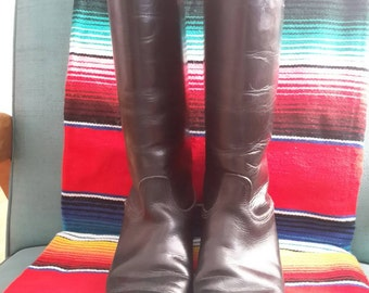 Vintage 1960s Equestrian Black Leather Riding Boots USA Made 7