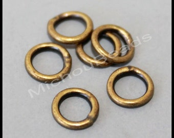 BULK 25 ANTIQUED Gold Bronze Closed 6mm Jumprings - 18 gauge Round Plated Brass Soldered Jump Ring Links Connectors - Instant Ship - 5968