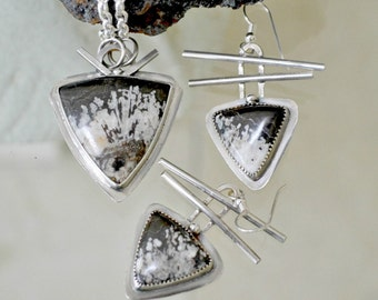 """jasper necklace and earring set.  Sterling silver.  """"fusion"""""""