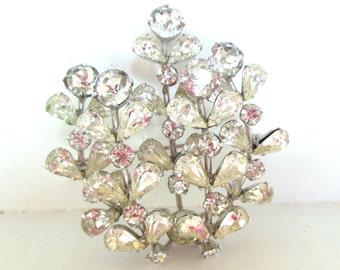Vintage Weiss Co Rhinestone Brooch Flowers Weiss Silver 40's (item 12)
