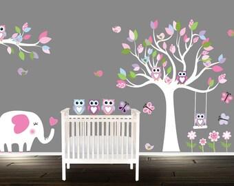 Wall decal SET, nursery Wall stickers, Nursery Decals, Owl wall decal, Nursery wall art, elephant giraffe
