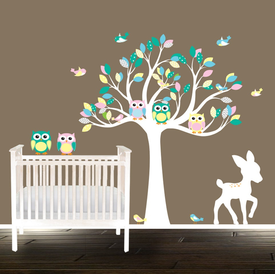 Wall Art Decals For Textured Walls : Nursery decals peel and stick owl wall for textured