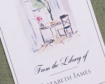 Interior Desk and Chair Illustrated Bookplate Personalized, set of 24.