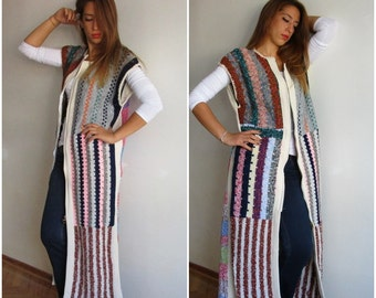 CLEARANCE SALE Stripes Maxi  Vest Hand-knitted Long Vest, Cardigan Sweater Poncho Fit Any Size Hippie Long Vest Boho Chic Feminine Handmade