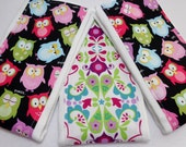 Burp Cloths set of 3 Sleepy Time Owls and Floral prints/Free Shipping/ Ready to ship!