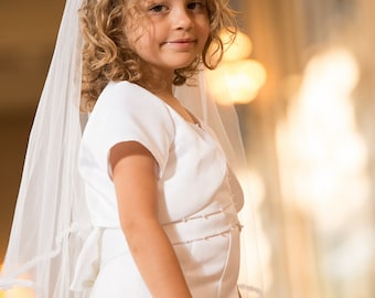 Girls First Communion Veil on headband