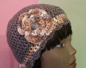 Crochet Flapper Hat -  Grey Heather