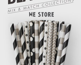 25 PAPER STRAW with free printable DIY Toppers - Black Tie