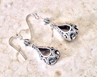 Teardrop silver filigree earrings with French Wires Silver filigree dangle earrings Boho earrings
