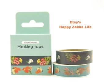 Japanese Washi Masking Tape Box Set - Travel Series - Tropical Flower - 2 rolls - 5.5 Yards (each roll)