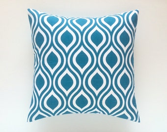 CLEARANCE 50% OFF Teal Throw Pillow Cover. 3 Sizes. Aquarius Blue Nicole Decorative Pillow. Cushion Cover