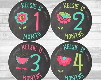 CUSTOM NAME Baby Girl Month Stickers Monthly Baby Stickers, Milestone Baby Month Stickers, Monthly Bodysuit Mod Floral (Kelsie Chalkboard)