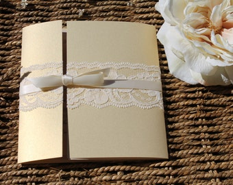 Gated Collection in Gold / champagne - Lace Wedding Invitation Suite
