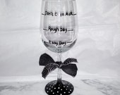 Rough Day hand painted wine glasses