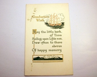 Graduation Card - Antique Early 1900's Postcard - Unused - Vintage Embossed Post Card - Unique Gift Card