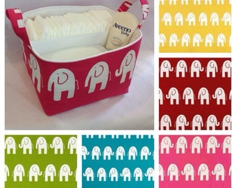 Customize LG Diaper Caddy Fabric Storage Bin, Organizer, Basket, Choose White Elephant Print and Solid Lining Colors