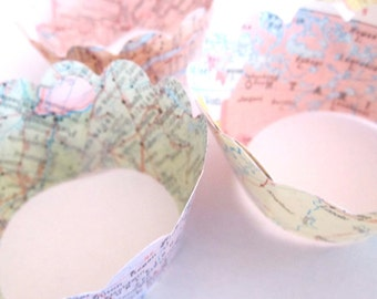 Mini Cupcake Wrappers, Vintage Map Decor, Your Choice of Maps, Travel Theme Wedding, Vintage Travel Theme