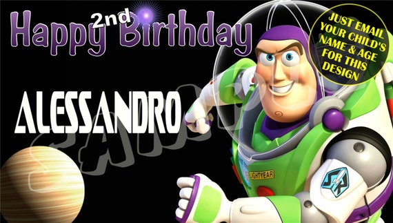 """Toy Story Buzz Lightyear Personalized Custom Birthday Banner with a """"free"""" printable DIY Thank You Note"""