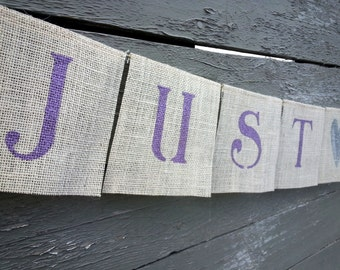 CLEARANCE SALE, Lilac and silver just married burlap wedding banner