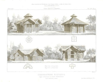 1873 Vintage Architectural Print Rustic Buildings, Lodges of Animals in a Zoological Garden, France