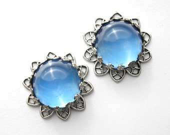Two Piece Set of Frosty Sapphire Blue Glass Cabochon Pendants in Antiqued Silver Filigree