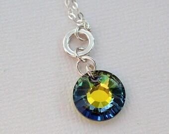 Swarovski Necklace, Sunburst Necklace, Crystal Sun Necklace, Blue Yellow Green Necklace, Crystal Pendant Necklace, Sparkly Necklace