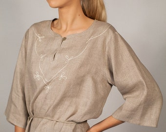 Pure Linen Tunic With Hand Embroidered Leaf Motif on Front