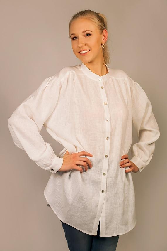 Oversized pure linen shirt for women for Linen women s shirt