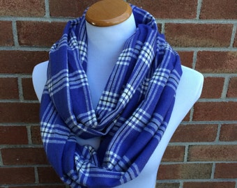 Purple Plaid Flannel Infinity Scarf